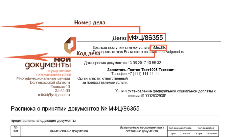 Проверка готовности документов в МФЦ